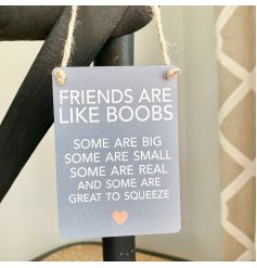 A comical inspired mini metal sign, set with a neutral grey back tone and block text decal