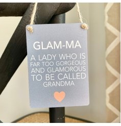 A fabulous little hanging metal sign with a scripted text quote and neutral grey base done