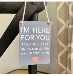 A sweet and sentimental inspired mini metal hanging sign set with a grey base tone
