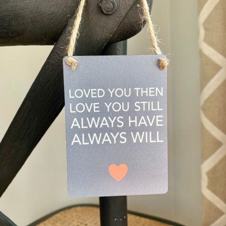 A Sentimental texted mini metal hanger set with a neutral grey base tone