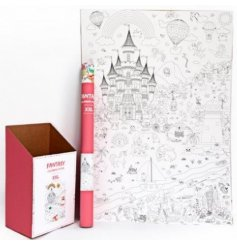 An extra large roll of paper covered in illustrations based on a fantasy world