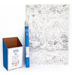 A huge sized rolled up poster covered in action packed illustrations
