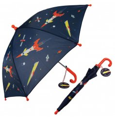 A small umbrella in a retro space design perfect to keep your little one out of the rain.