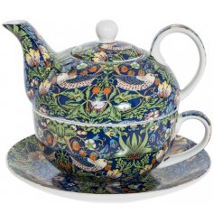 A beautifully decorated Tea For One set, complete with a matching gift box