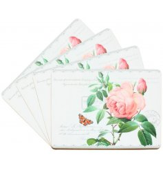 A beautifully printed set of Placemats with a rose floral decal