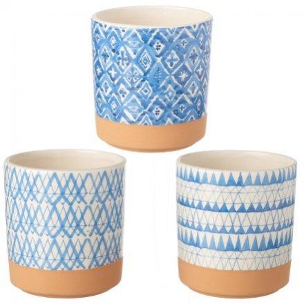 Assorted Ceramic Blue Pots, 12cm