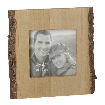 "Rustic Bark Photo Frame, 4x4"""