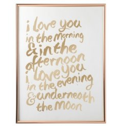 A golden toned frame featuring a scripted text decal
