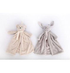 A cute mix of snuggly soft comforter blankies with added Bunny and Bear themed plushies attached