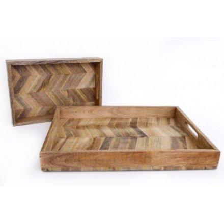 Herringbone Square Wood Trays, Set of 2