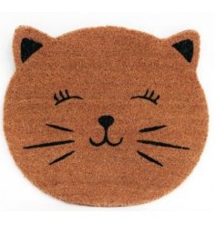 A cute Feline faced doormat made form strong bristles, sure to clean muddy shoes or paws before entering the home