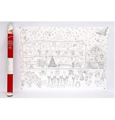 An extra large roll of paper covered in illustrations based around the festive season