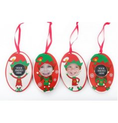 Add a personal touch to your tree decor with this quirky mix of hanging tag frames