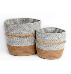 Set with a beautiful grey and white woven decal, these assorted sized baskets also feature tassel trimmings