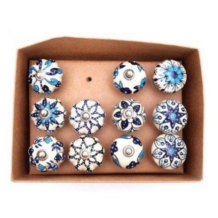 Blue Patterned Doorknobs