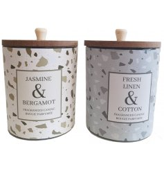 A mix of 2 large glass candle pots set with a terrazzo inspired decal and filled with sweetly scented waxes