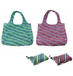 An assortment of fabric shopping bags that feature easy fold away pockets and additional clips