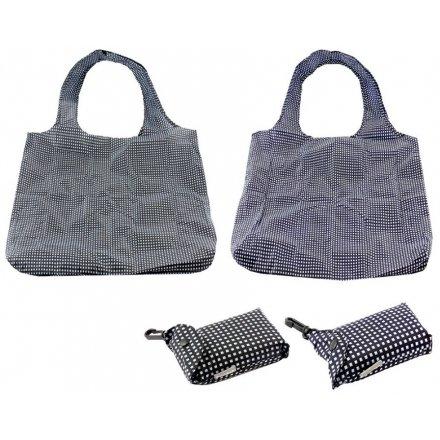 Checkered Fold Away Shoppers, 2asst