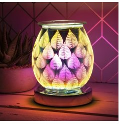 A stunning curved lamp with oil burner/wax melt feature. The lamp creates an attractive, 3D colour flame image