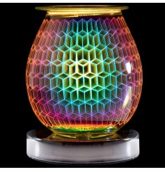 A stunning and curved, multicoloured lamp creating a geometric three-dimensional design.