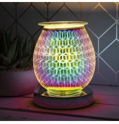 A stunning curved lamp with oil burner/wax melt feature. The lamp creates an attractive, rhombus geometric colour image