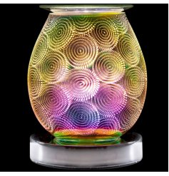 A stunning curved lamp with oil burner/wax melt feature. The lamp creates an attractive, spiral colour image