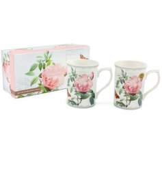A beautiful set of Fine China Mugs, both featuring a delightful blush pink rose printed decal