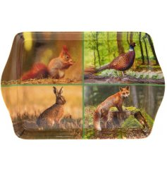this small decorated serving tray features a 4 space scenery display with added seasonal colours