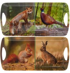 Part of our beautiful Woodland Wildlife range, this assortment of decorated serving trays features scenery display with