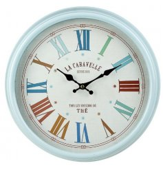 A large round and colourful themed clock set with an added Vintage charm