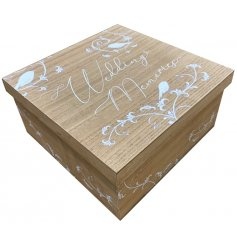 A wooden storage box with a pretty floral design, perfect for keeping your favourite wedding items.