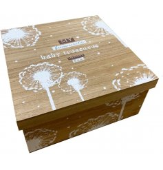 A large wooden keepsake box with a pretty treasure box label and floral design.