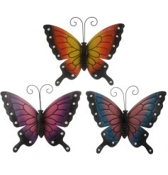 Bring a splash of colour to any side of the house or garden fence with this charming mix of metal butterflies