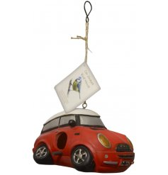 A charming little hanging birdhouse in the shape of a Red Mini Car
