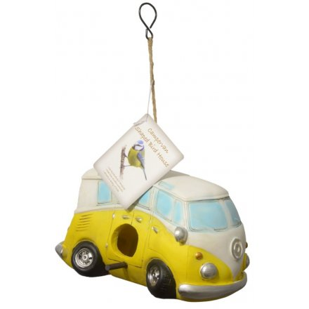 Yellow Camper Van Shaped Bird House