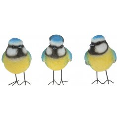 A charming assorted of posed Blue Tit decorations, perfectly suitable for the home and garden
