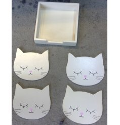 Set with a smooth white wooden tone and added accents, this charming set of cat coasters will be perfect for any coffee