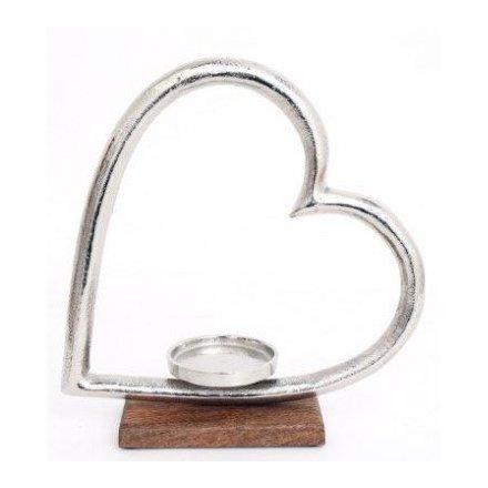 Wooden Based Heart Tlight Holder