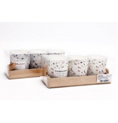 A mix of 2 Candle pot sets with a terrazzo inspired decal and filled with sweetly scented waxes