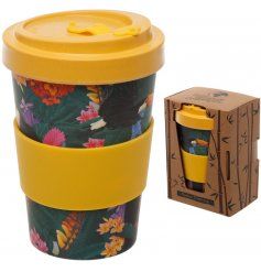 A totally tropical printed Bamboo Travel Mug complete with an added yellow grip and matching screw top lid