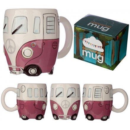 Bone China Camper Van Mug - Pink
