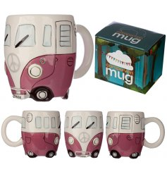 A quirky Camper Van shaped China Mug complete with a matching gift box and pretty pink tone