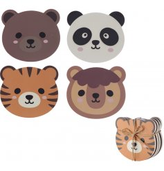 An adorable mix of animal themed wooden coasters, decorated in an assortment of styles