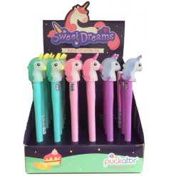 A mix of magical LED Writing Pens, topped with enchanted unicorn decals