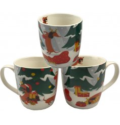 A fun and festive themed Mug featuring a cute 'Dachshund Through The Snow' decal