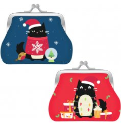 A mix of red and blue toned fabric coin pouches, decorated with a Feline Festive themed front