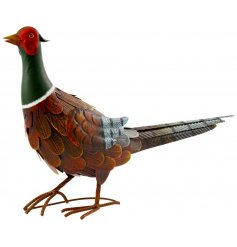hand painted metal pheasant decoration for your garden