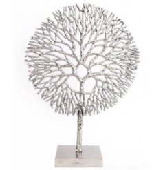 A large decorative Coral Inspired Sculpture with an added shiny silver coating