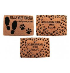 An assortment of 3 doormats each set with a cute Pet Friendly Quote and print