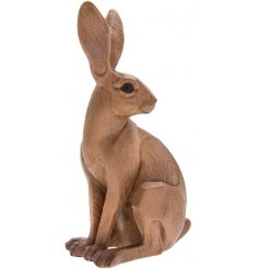 A beautiful natural wooden hare in a sitting pose